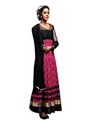 Bipson Womens Georgette Anarkali Dress Material (Floral-3029 -Pink -17-18 Years)