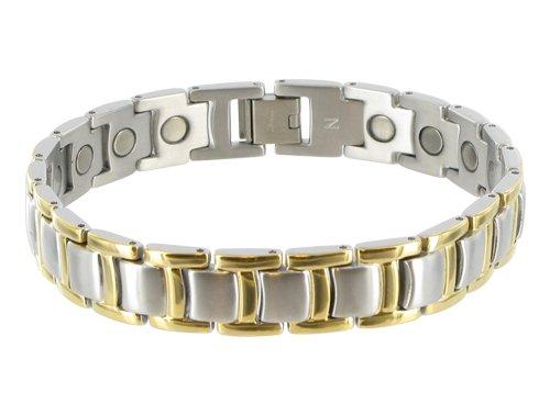 12 MM Two tone Titanium Magnetic Link Bracelet 8.5