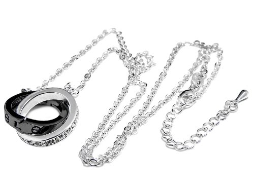 18 k White Gold processing connection ring necklace silver x gunmetal Swarovski silver x black [parallel import goods: [jewelry]