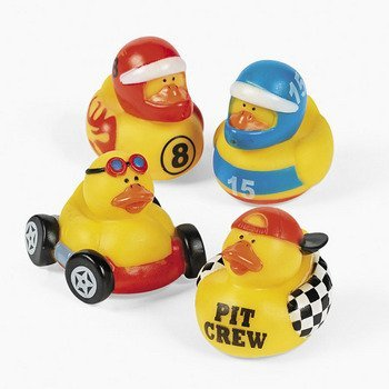 Fun Express Rubber Ducky Duck Duckie Race Car Birthday Party Favors Set (12 Piece)