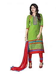SR Women's Cotton Unstitched Dress Material (Green top red b duptta)