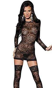 Coquette Women's Sheer Black Lace Mini Dress and Thigh Hi Set (one-size)