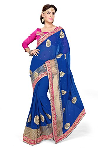 Sourbh Sarees Royal Blue Faux Georgette And Net Patch Work Saree for Women Party Wear