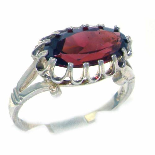 Quality Solid Sterling Silver Genuine 2.5ct Garnet English Victorian Inspired Ring - Size 12 - Finger Sizes 5 to 12 Available - Suitable as an Anniversary ring, Engagement ring, Eternity ring, or Promise ring