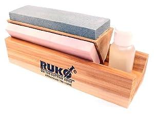 RUKO 6-Inch 3-Stone Honing Block Stones Knife Sharpener with Cedar Wood Base and... by Ruko
