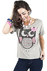 Emma's Mode Women's Casual Grey Open Back Owl Tee with Bow