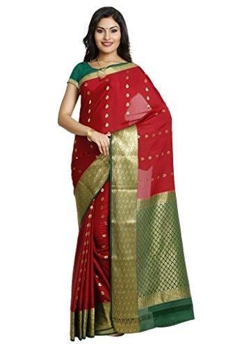 Kaushika Sarees Pure Crepe Traditional Mysore Silk Maroon_Bottlegreen Saree