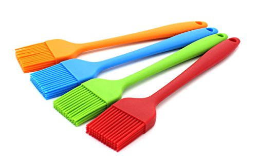 Zicome Set of 4 Silicone Pastry Basting Grill Barbecue Brush - Solid Core and Hygienic Solid Coating - 4 Bright Colored Red, Blue, Orange, Green - 8-3/4 Inch Long (What Is Meat Sauce compare prices)