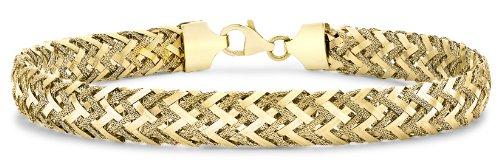 9ct Yellow Gold Textured Woven Bracelet 19cm/7.5