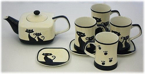 Hues & Brews 9 Piece Cattitude Teapot, Mugs & Coasters Set - Ivory, Hand-painted