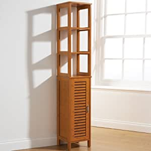Tall Bathroom Storage Cabinet Bamboo Style Floor Standing