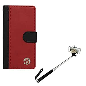 VanGoddy Premium Self Stand Mary Wallet Flip Book Cover Case for Cyanogen OnePlus One (Red) + Selfie Stand Stick
