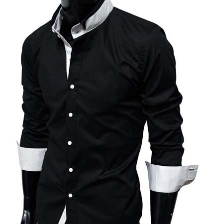 GL Fashions Men's Casual Long Sleeve Double Collar Dress Shirt - Black - XXL