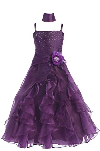 Amj Dresses Inc Girls Purple Flower Girl Formal Dress Size 16