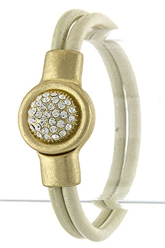 Contempo Couture Crystal Lined Dome Accent Leather Bracelet (Ivory)
