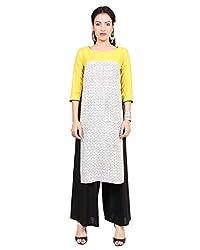 Divena Yellow And Off White Rayon Printed kurti