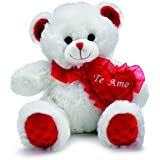 """Valentines Day Plush """"Te Amo"""" White Bear With Red Heart"""