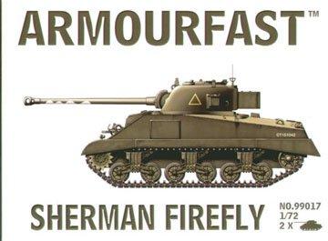 Armourfast 1/72 British Sherman Firefly Tank Model Kit - Contains 2 Tanks