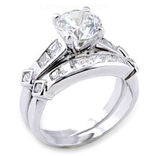 Jewelry - Round Clear CZ Wedding Ring SZ 5