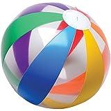 Lot Of 12 Clear Rainbow Striped Design Multi Color Beach Balls