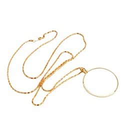 Crazy K&A 5X Necklace Pendant Pocket Magnifier Jewelry Loupe with 17.32 Inch Gold Chain