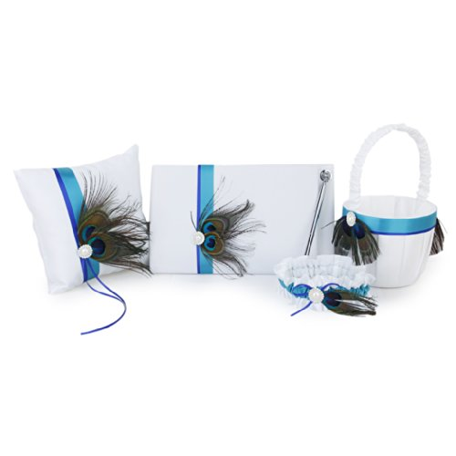 Peacock Feather Decor Wedding Guest Book+Pen+Ring Pillow+Flower Basket+Garter Set---White