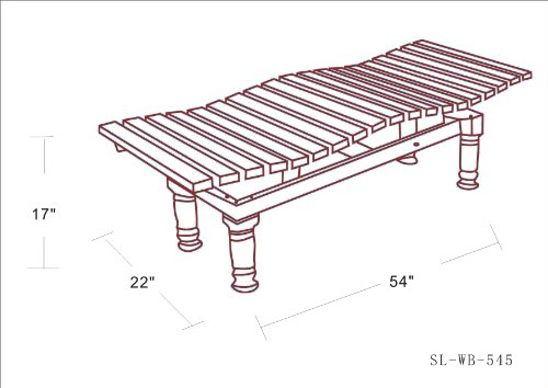 DC America SL-WB-545S, Wavy Bench, Steel Frame and Hardwood Slats, Rust Resistant Finish