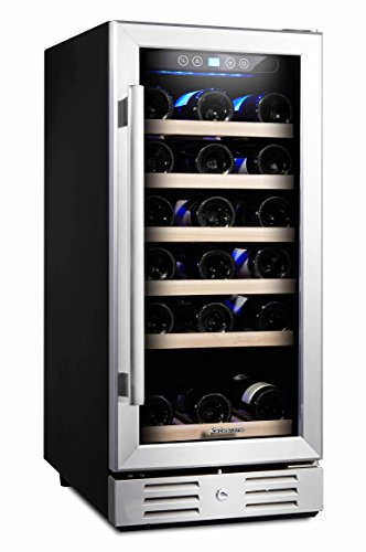 Kalamera 15'' Wine refrigerator 30 Bottle Built-in or Freestanding with Stainless Steel & Double-Layer Tempered Glass Door (In Cabinet Wine Fridge compare prices)