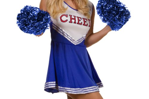 COLLEGE SPORTS Blue High School Cheerleader Ladies Girls Fancy Dress Costume Outfit Size M With Pom Poms