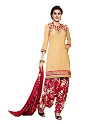 Inddus Women Peach Embroidered Cotton Blend Dress Material