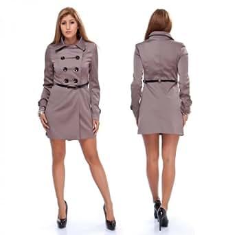 Sexy Voyelles Luxus Damen Mantel Trenchcoat Kurzmantel in 5 Farben , Größe:34;Farbe:Grau