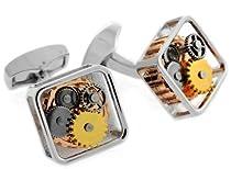 Tateossian Silver Tone Square Framed Steampunk Gear Watch Mechanism Cufflinks