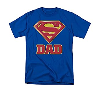 Trevco Superman Super Dad Shield Logo Men's T-Shirt, royal blue, Small