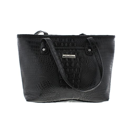 Marc Fisher Womens Day By Day Faux Alligator Lined Shopper Handbag Black Large (Marc Fisher Day By Day Bag compare prices)