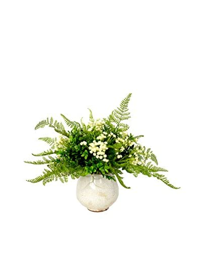Creative Displays Inc. Fern and Boxwood Planter, Green/Ivory
