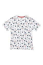 Poppers by Pantaloons Boy's Round Neck T-Shirt (205000005605968, White, 13-14 Years)