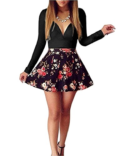 Elite99 Womens Long Sleeve Deep V-neck Floral Print Dress (12, Black)