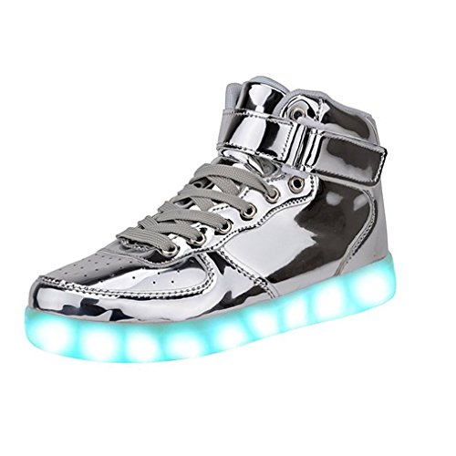 Fashion High Top LED Shoes Light Up Sneaker 7 Color Flashing / USB Charge / Halloween/Christmas/Thanksgiving Gift(9B(M)US-women/7.5D(M)US-men, Silver)