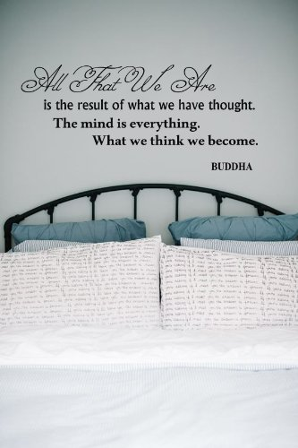Housewares Vinyl Decal Yoga Pose Buddha Quote The Mind Is Everything Home Wall Art Decor Removable Stylish Sticker Mural Unique Design For Any Room back-561413