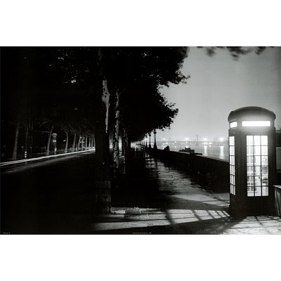London Embankment at Night Photo Art Print Poster - 24x36