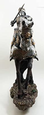 Large Medieval Centurion Knight on Heavy Horse Calvary Statue