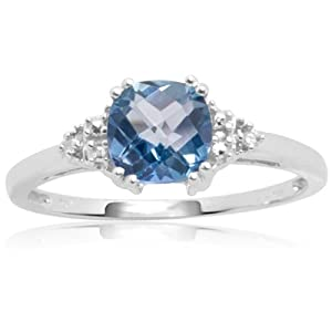 10k White Gold, December Birthstone, Blue Topaz and Diamond Ring, Size 5