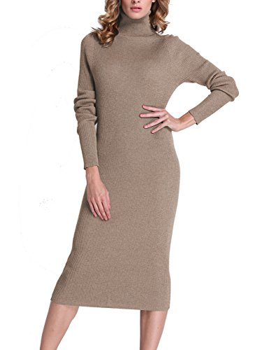 Roco roca Women's Turtleneck Ribbed Elbow Long Sleeve Knit Sweater Dress RRW1520141z5-XL