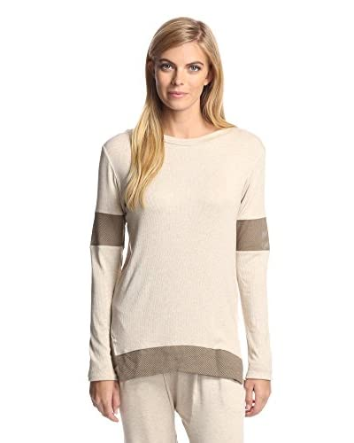 Sen Women's Selita Colorblock Long Sleeve Top  [Oatmeal/Coffee]