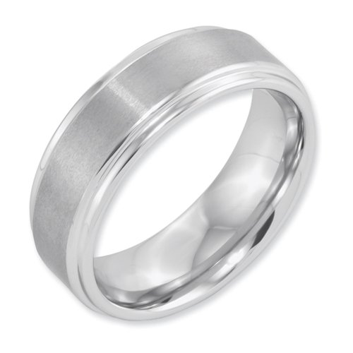 White Dura Tungsten Ridged Edge 8mm Brushed And Polished Band, Size 8.5