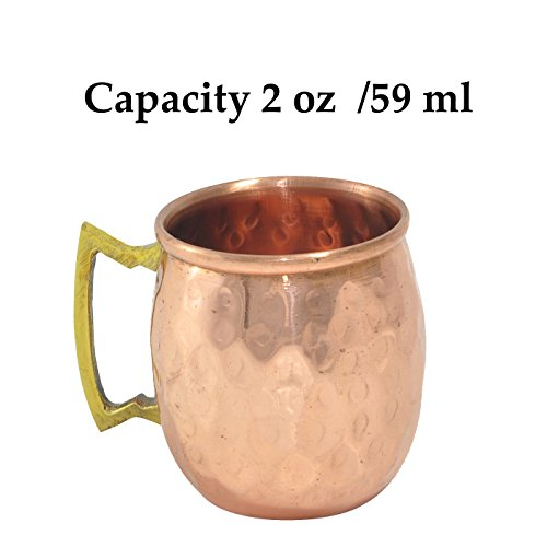DakshCraft Handmade Pure Copper Solid Shot Hammered Mug(Capacity 2 oz/59 ml) (Sold And Shipped By Amazon Only compare prices)