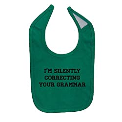 Mashed Clothing Unisex-Baby I'm Silently Correcting Your Grammar Cotton Baby Bib (Kelly Green)