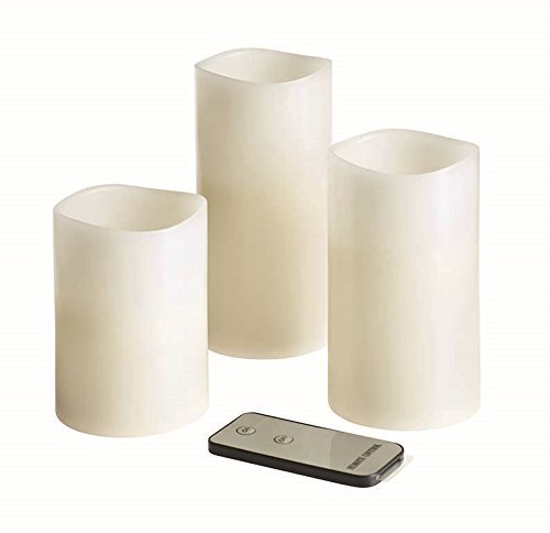 Battery Operated White Pillar Candles - 3 Pack. With Remote Control