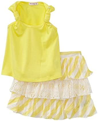 Little Ella Girls 2-6x Bellah Stripe Top, Lemon, 2T