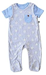 Babeez Baby Boy Romper Set, top with solid & All Over Printed Romper with Solid Pocket (100% Cotton Interlock) to fit height 56 - 62cms